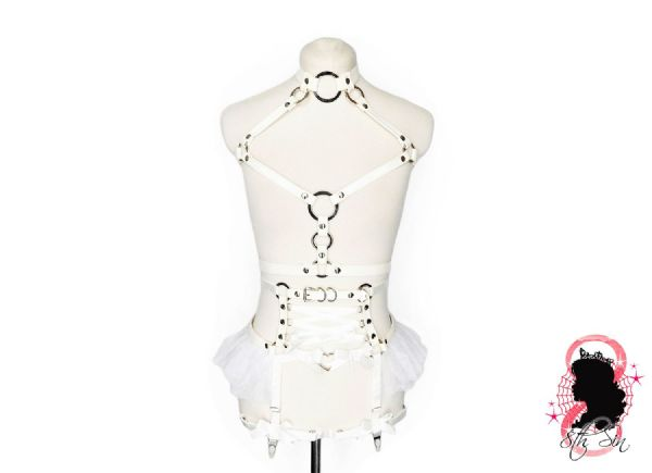 White Faux Leather O Ring and Corset Harness Set